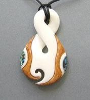 Picture Viewer - BON036 - Bone Single Twist Pendant with Paua and Stain