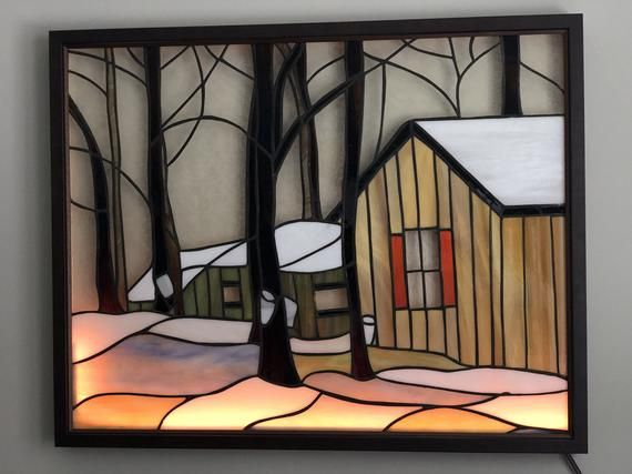Sugar Shack Stained Glass Panel Framed And Illuminated Stained Glass Glass Panels Stained Glass Panel