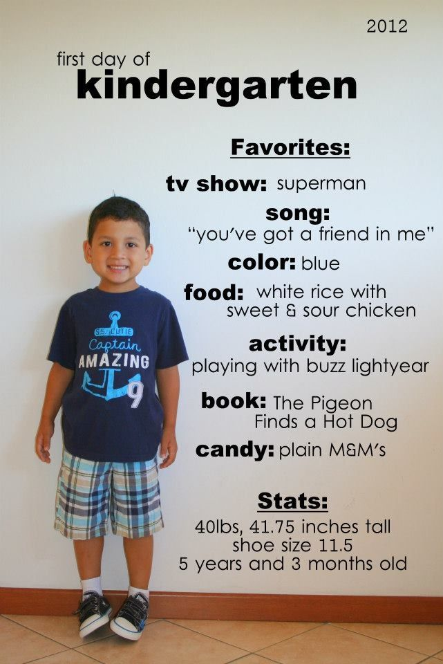 Cute stat card to send out for announcements of starting kindergarten!
