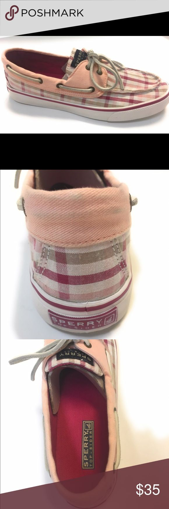 Women's 8.5 Sperry Top Sider Pink Khaki Plaid Euc Women's 8.5 Sperry Top Sider Pink Khaki Plaid Awesome Condition  I am listing as used only on the fact that there are a couple marks on the bottom. No damage. Marks are very very minor . My seller standards are very high. Making these not store new. But these shoes appear to be in like new. Condition. Not wear marks anywhere. Sperry Shoes Flats & Loafers