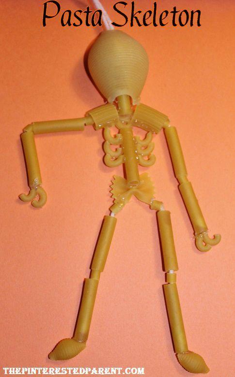 Pasta skeleton craft and other Halloween pasta crafts