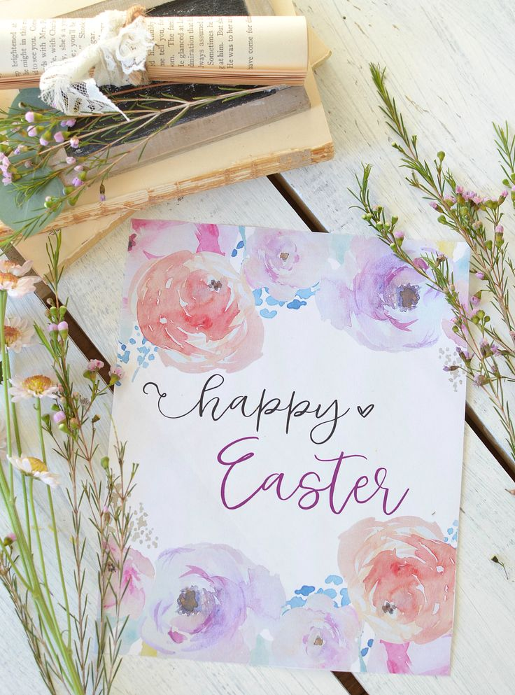 Free Happy Easter Printable with Watercolor Flowers – Home Decor