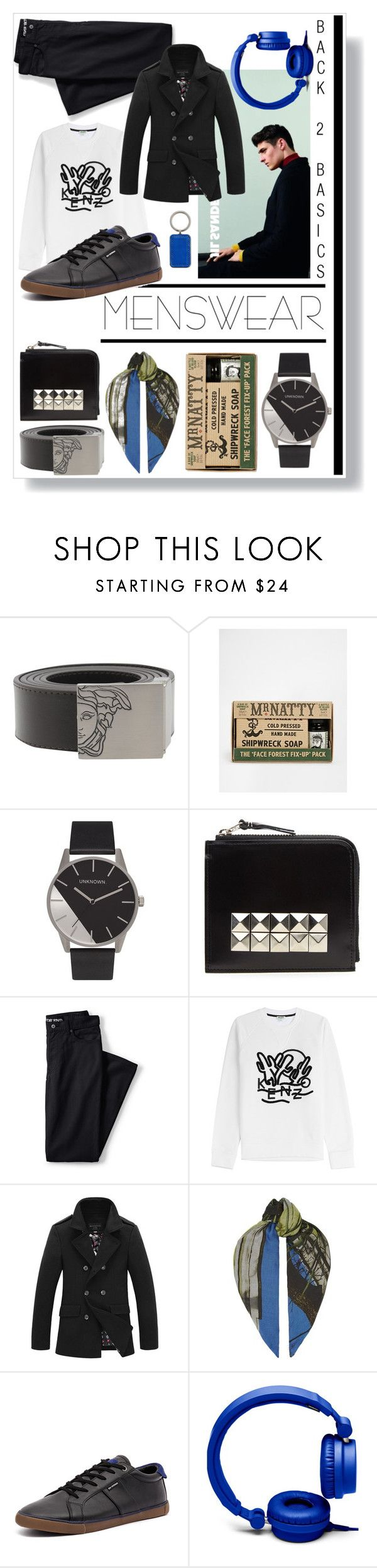 """""""Menswear Basics"""" by captainsilly ❤ liked on Polyvore featuring Versace, Mr Natty, Comme des Garçons, Lands' End, Kenzo, Paul Smith, Ben Sherman, Forever 21, Tumi and mens"""