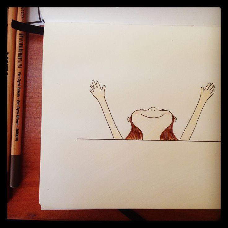 La felicidad en lápiz de tinta y color.