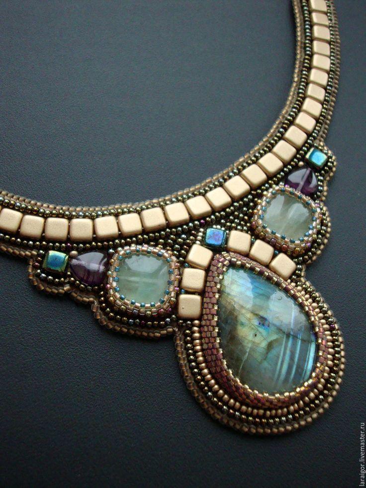 Купить Колье с лабрадоритом (вышивка бисером) - комбинированный, украшения с лабрадором, колье вышитое бисером