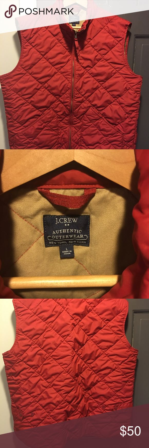 J. Crew Quilted Vest (Men) Gorgeous red colored Quilted Vest. Light weight so perfect for cool days. Great condition. No stains or rips J. Crew Jackets & Coats Vests