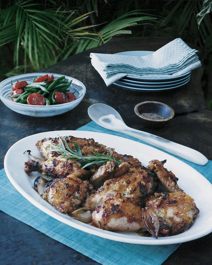 This chicken dish is delicious served with a side of steamed green beans, oven-roasted tomatoes, and rice.