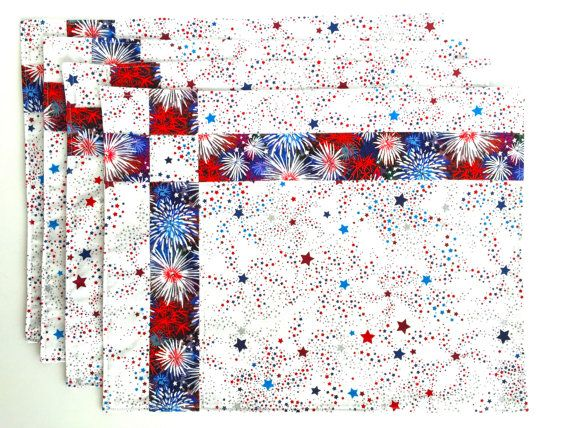 Quilted American Flag Placemats, Summer, Patriotic, Set of 4,  Red, White, Blue