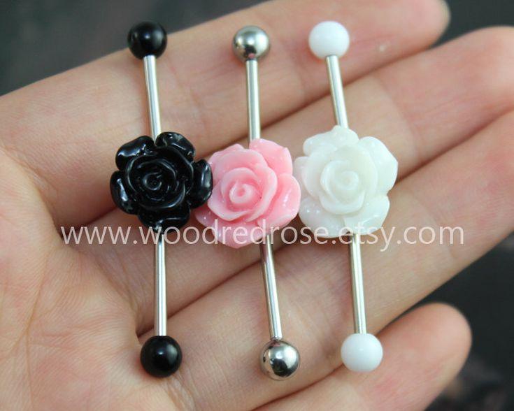 Flower Industrial Barbell, flower Body Jewelry Ear Jewelry Double Piercing,Hydrangea Belly Button Rings, flower earring by woodredrose on Etsy https://www.etsy.com/listing/202950648/flower-industrial-barbell-flower-body