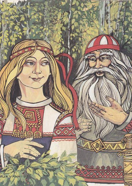 Runot 8-9, Väinämöinen kosii Pohjolan neitoa kalevala kuvataide pohjolan neito - Google-haku