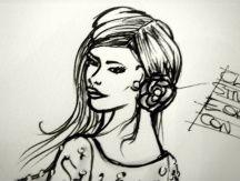 dettaglio disegno clip fiore in raso e organza con perla centrale