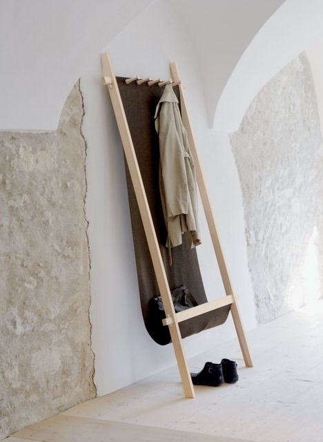 Martin Parn and Edina Duflal-Parn for Nils Holger Moormann // Lodelei coat rack // canvas, little of wood, utterly diyable