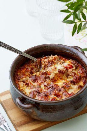 Köttfärsgratäng med bacon och tomat