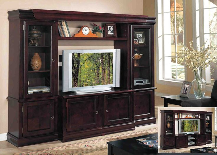 Entertainment Room Decorating Ideas Part - 48: [Living Room] : Minimalist Living Room Decorating Ideas With Dark Wooden  Television Cabinet With Flat Screen Television Together With Dark Couch  With Dark ...
