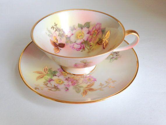 Wild Rose German Tea Cup and Saucer, Schumann Arzberg German Teacup and Saucer, Antique Teacups, Tea Cups and Saucers, Tea Set, VogueTeam