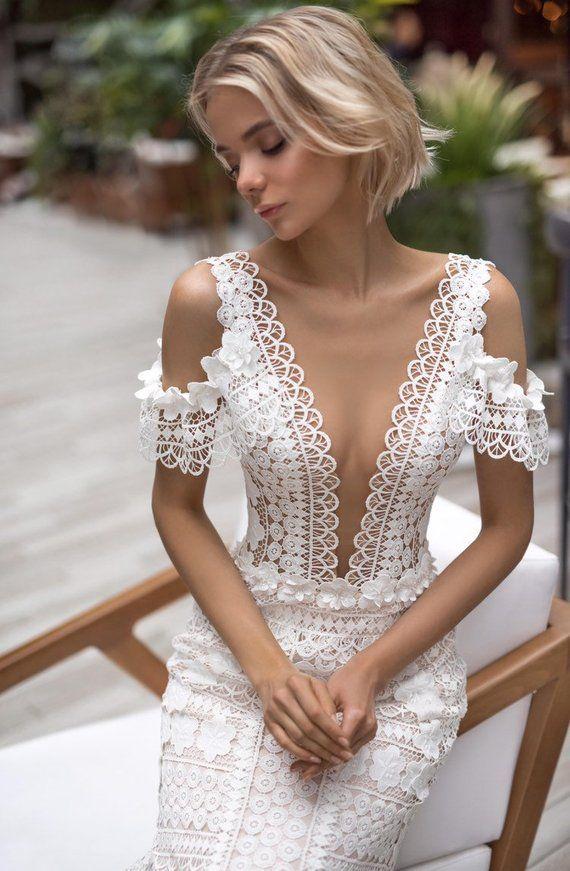 Boho wedding dress mermaid 3d sleeves train modern wedding dress elegant ivory light wedding gown si