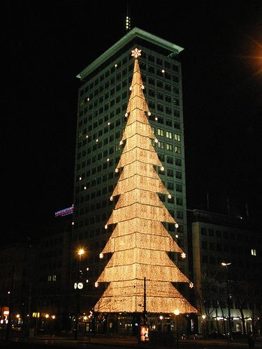 One of the oldest Viennese tower buildings, the so called Ring tower, in his illumination as Christmas tree. Vienna, Austria