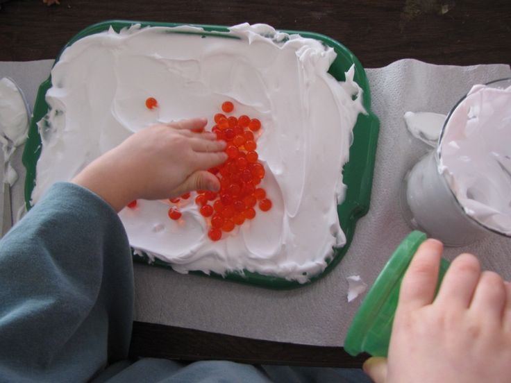 Add water beads to shaving cream _ OT and sensory activity.