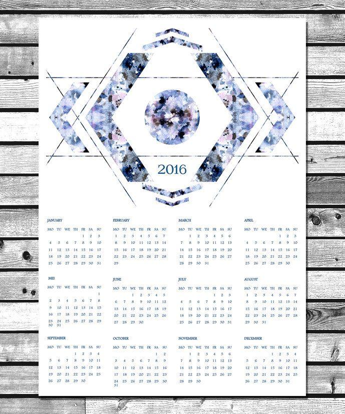 Calendrier 2016 - Géométrie - Téléchargement instantané - Imprimable à la maison - Shibori - Numérique- Décoration murale - Format A3 & A4 de la boutique NaouruPrintable sur Etsy