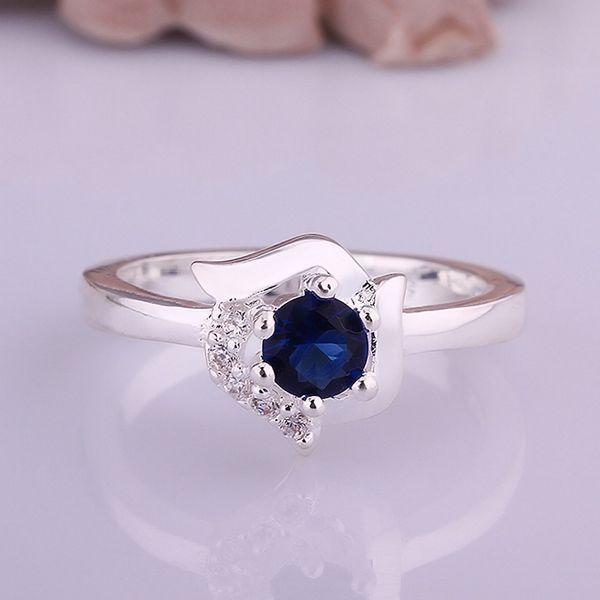 2014 Горячая продажа Рождественских Подарков Оптовая посеребренные кольца ювелирные изделия, Белка синий камень кольцо SMTR380
