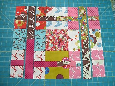 """Moda Bake Shop: """"Off the Grid"""" Sliced Nine Patch Quilt tutorial. You start with a 9 patch. The skinny strips that you sew when you slice the 9 patch look like sashing when the quilt is all put together."""