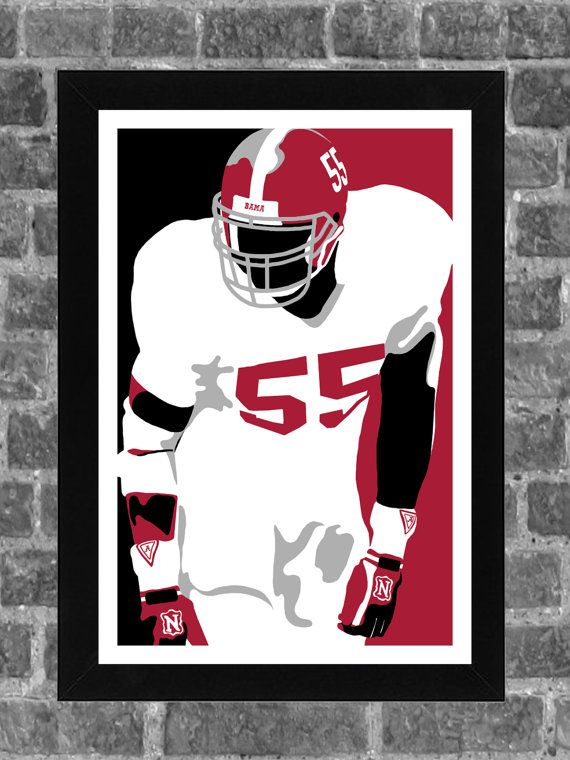 Alabama Crimson Tide Derrick Thomas Portrait Sports Print Art 11x17