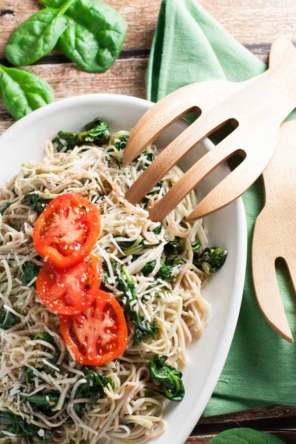 Angel Hair Pasta with Garlic and Spinach | Garlic and spinach are the stars in this recipe...supported by anchovies that you won't even know are in there! Delish and simple!