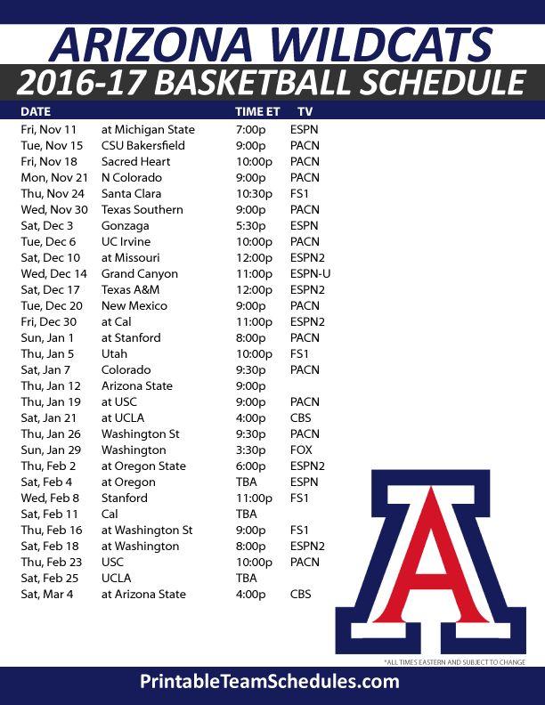 Arizona Wildcats Basketball Schedule 2016-17.  Print Here - http://printableteamschedules.com/NCAA/arizonawildcatsbasketball.php