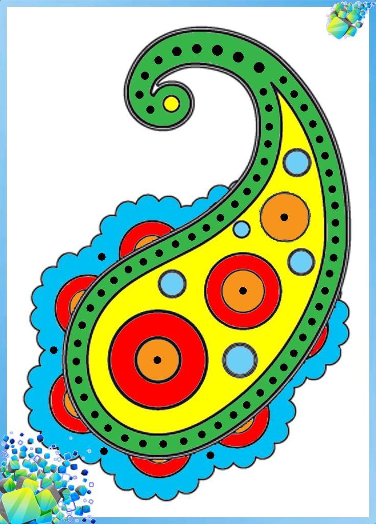Схема трафарет для рисования витража витражными красками индийский огурец пейсли