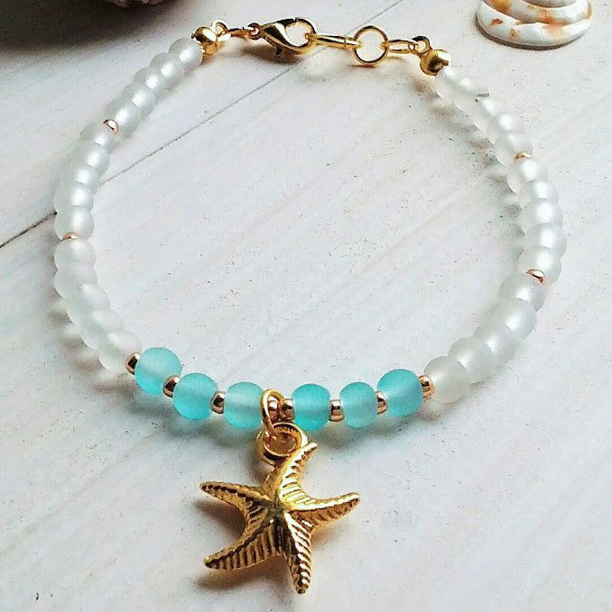 Seaglass woman bracelet/Clear Blue bracelet/Seastar stacking bracelet/Gold Charm jewellery/Seastar bracelet/Gold seastar jewelry/Beauty gift 11€ summerbeachisland.etsy.com