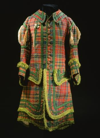 Tartan coat from a Royal Company of Archers uniform, of hard twill weave wool with wooden buttons, silk fringing and linen lining: c. 1750 Museum of Scotland
