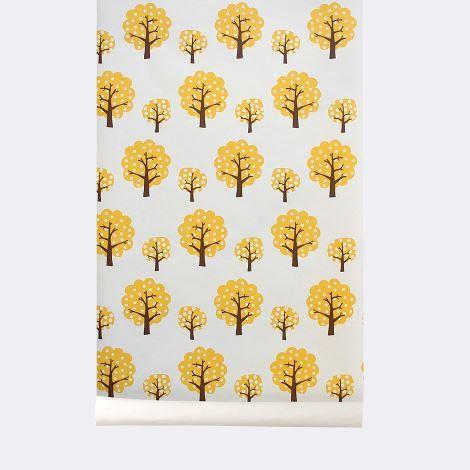 Dotty Wallpaper papier peint arbre jaune moutarde ... tendance sixties chez Ferm Living