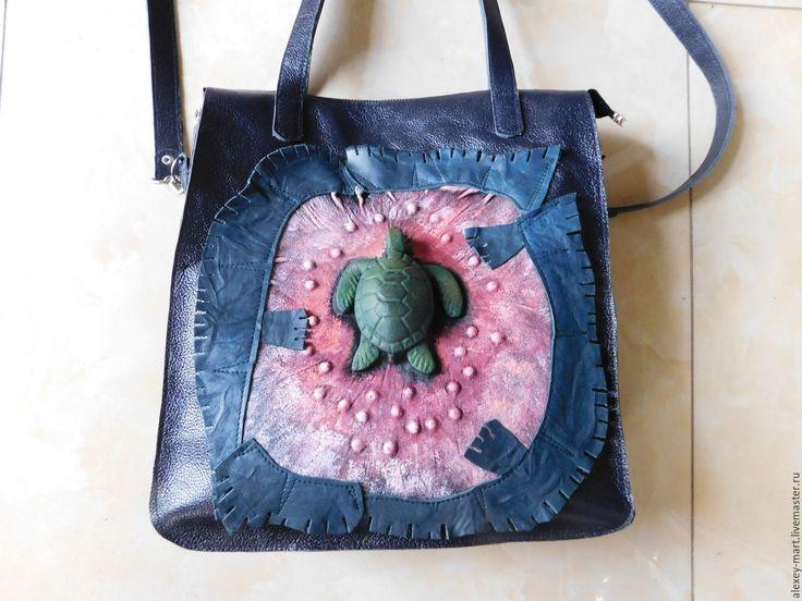 Купить Морская черепаха - комбинированный, сумка ручной работы, сумка из натуральной кожи, сумка с декором