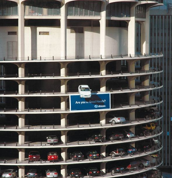 Allstate - Are you in good hands?: Observed, Building, Street Marketing, Creative, Hands, Parks Garage, Chicago, Marina Towers, Design