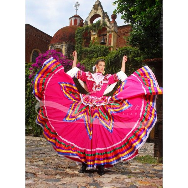 This a beautiful, nice, the size is medium and long ,colour pink Mexican, of origin Mexican, cotton, the purpose of use in traditional Mexican dances, dress, has five ribbon of different colour, short sleeve , the price is 750 pounds.