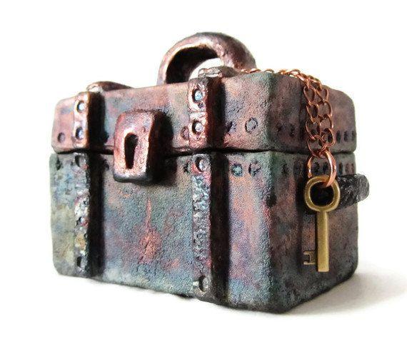 Raku Ceramic and Pottery Treasure Chest Jewelry Box  by mmartiniuk, $46.00