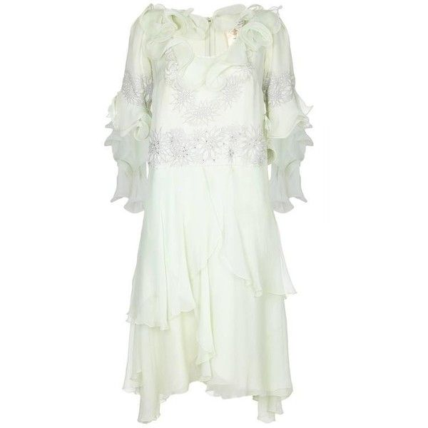 Preowned 1980s Zandra Rhodes Couture Silk Chiffon Dress, Hat And Bag... ($795) ❤ liked on Polyvore featuring dresses, formal wear, grey, gray dress, formal cocktail dresses, gray cocktail dress, floral cocktail dresses and vintage floral dress