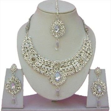 301672: Silver Rodium Polish Necklace set with  Earring, Mang Tikka  in Metal Alloy studded with Beads, CZ Diamond.