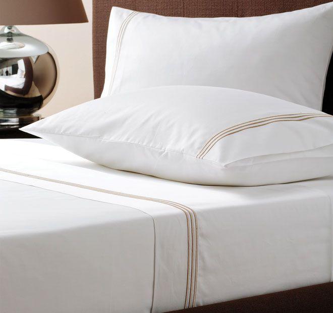Linen House Boutique Pembroke Sheet Set Taupe and White