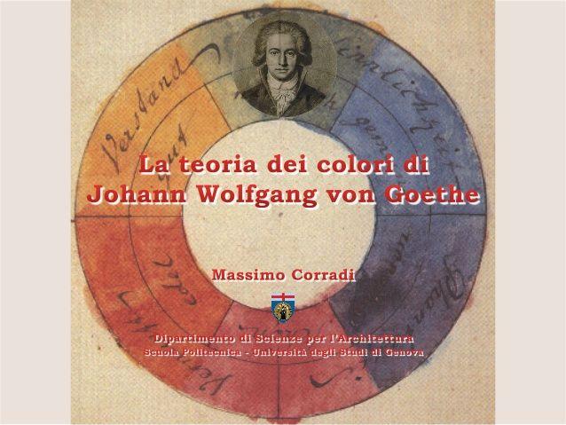 La teoria dei colori di Johann Wolfgang von Goethe. Interessante studio dei primi dell'800 dove lo studioso, in antitesi al positivismo, studia il fenomeno ridandogli dignità sensibile, poetica e psicologica. Nella convinzione che lo scienziato avesse il nobile compito di ritrovare ed indicare l'unità perduta di tutte le cose.