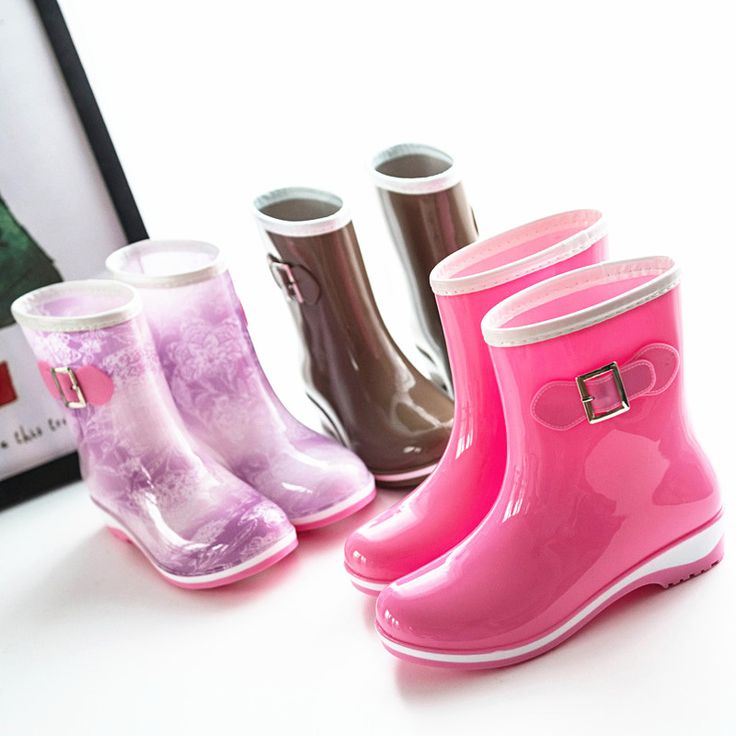 Hot Superior quality Fashion Brand Women Mid-calf Rain Boots Low Heels Short Waterproof Rain Boots Of Welly Boot Water Shoes