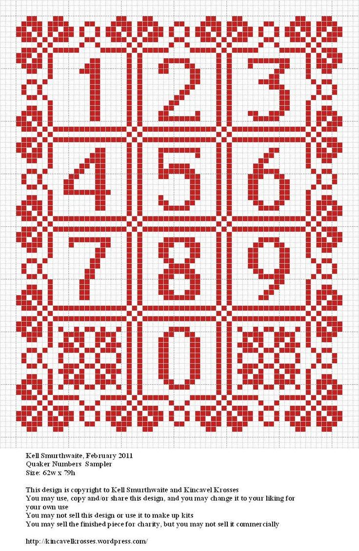 Design: Quaker Numbers Sampler Size: 62w x 79h Designer: Kell Smurthwaite, Kincavel Krosses Permissions: This design is copyright to Kell Smurthwaite and Kincavel Krosses You may use, copy and/or s...