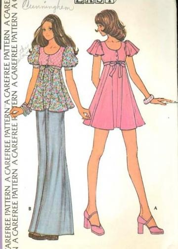 Vintage 1970s McCalls 3682 Sewing Pattern Misses Mini Dress & Empire Waist Top size Extra Small Bust 31
