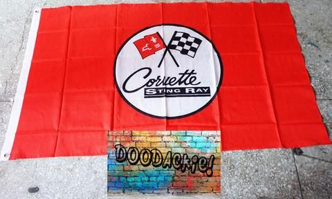 Chevrolet Corvette Stingray Logo Banner Flag - Red