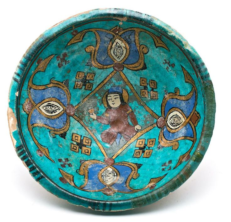 Persian bowl in turquoise-glazed pottery, 12th-13th Centuries