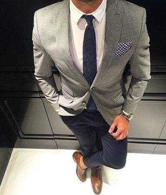 Men's Grey Blazer, White Dress Shirt, Black Chinos, Brown Leather Brogues