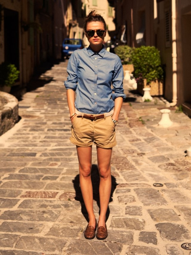 Love the denim blouse with shorts and cute flats