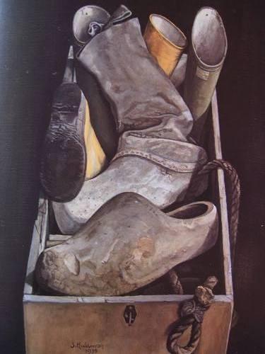 Jopie Huisman-Bak met Gummilaarzen-1975