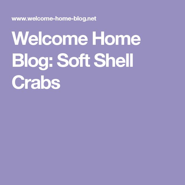 Welcome Home Blog: Soft Shell Crabs