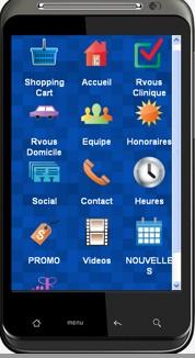Application pour téléphone intelligent  pour prise de rendez-vous en clinique ou à domicile